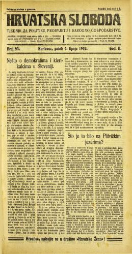 Hrvatska sloboda: 1922 • 23