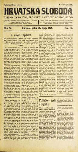 Hrvatska sloboda: 1924. • 26