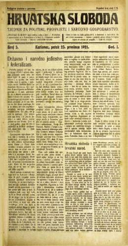 Hrvatska sloboda: 1921 • 3