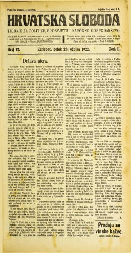 Hrvatska sloboda: 1922 • 12