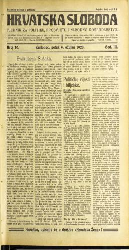 Hrvatska sloboda: 1923 • 10