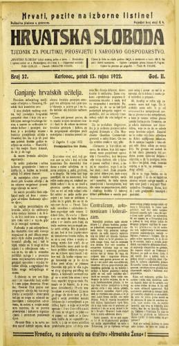 Hrvatska sloboda: 1922 • 37