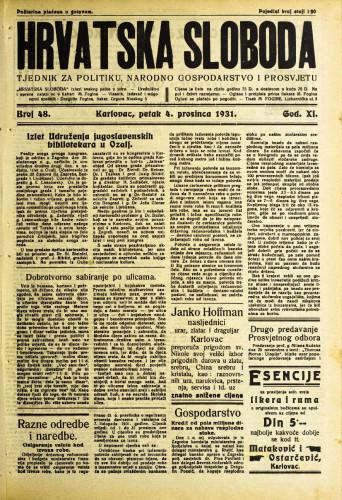 Hrvatska sloboda: 1931. • 48