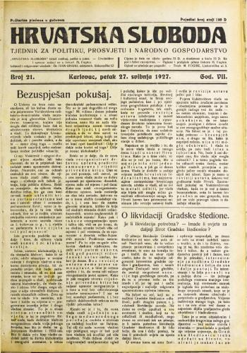 Hrvatska sloboda: 1927. • 21