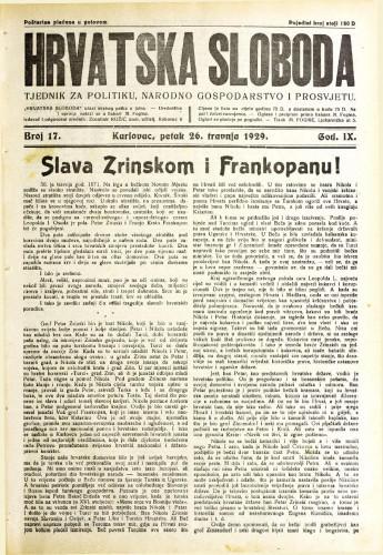 Hrvatska sloboda: 1929. • 17
