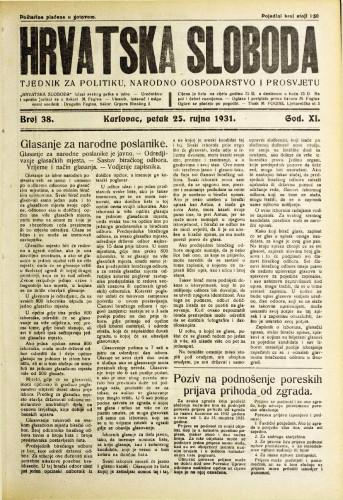 Hrvatska sloboda: 1931. • 38