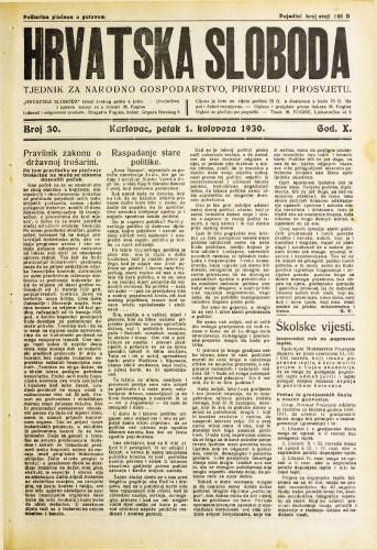 Hrvatska sloboda: 1930. • 30