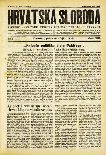 Hrvatska sloboda: 1928. • 10