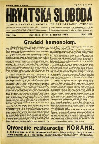 Hrvatska sloboda: 1928. • 18
