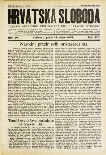 Hrvatska sloboda: 1928. • 39