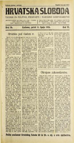 Hrvatska sloboda: 1926. • 24