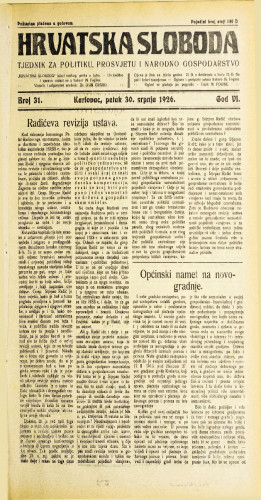 Hrvatska sloboda: 1926. • 31