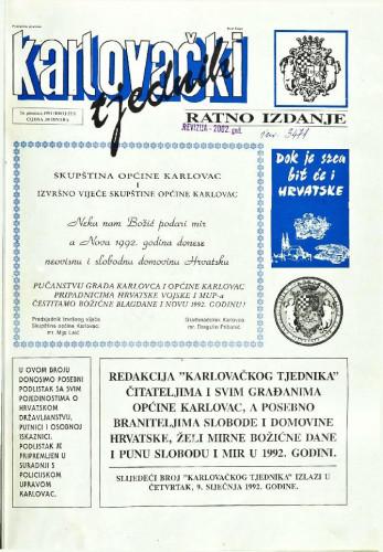 Karlovački tjednik: 1991 • 52/I