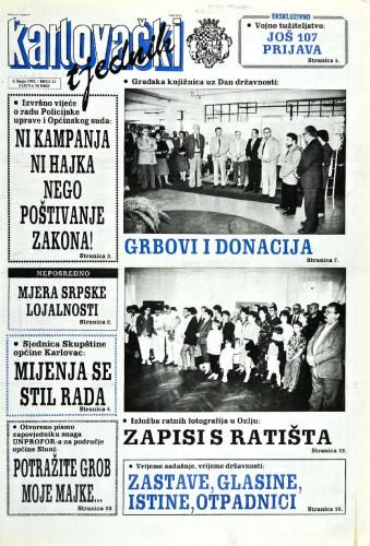 Karlovački tjednik: 1992 • 22
