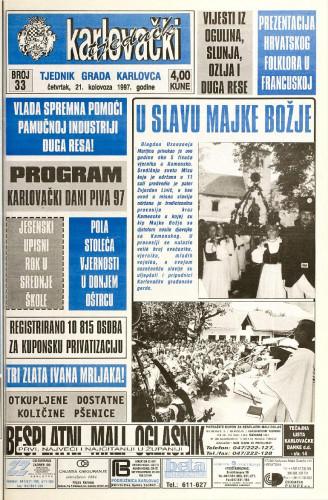 Karlovački tjednik: 1997 • 33