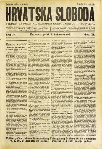 Hrvatska sloboda: 1931. • 31