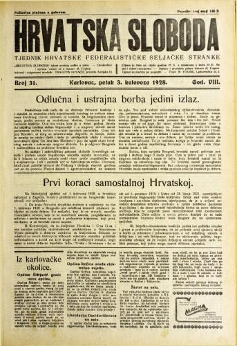 Hrvatska sloboda: 1928. • 31
