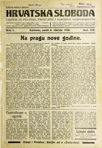 Hrvatska sloboda: 1928. • 01