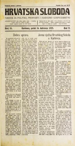 Hrvatska sloboda: 1925. • 33