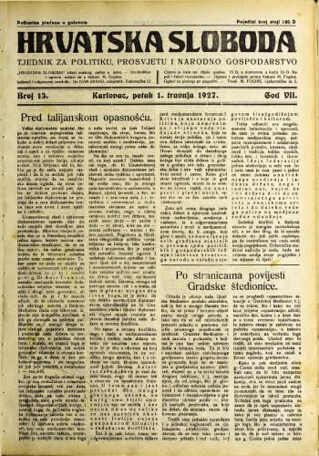 Hrvatska sloboda: 1927. • 13