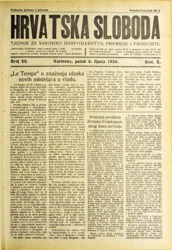 Hrvatska sloboda: 1930. • 22