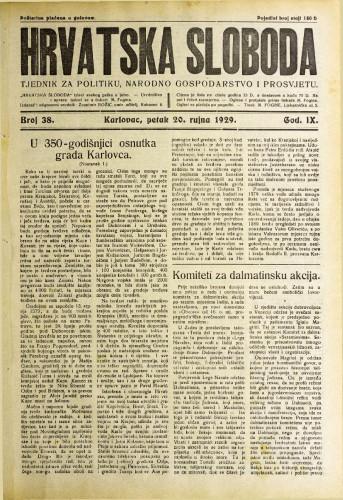 Hrvatska sloboda: 1929. • 38