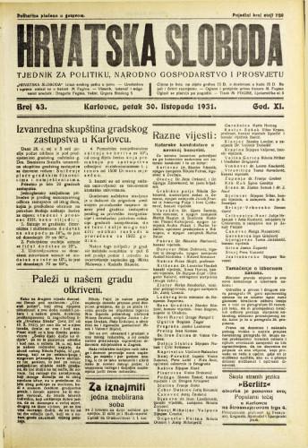 Hrvatska sloboda: 1931. • 43