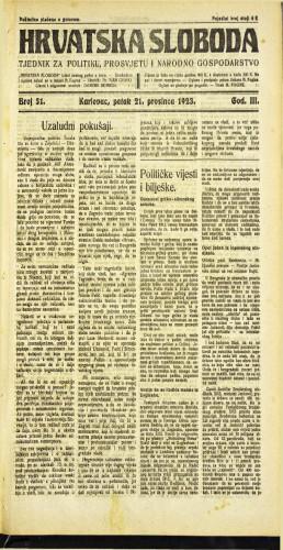 Hrvatska sloboda: 1923 • 51