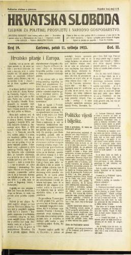 Hrvatska sloboda: 1923 • 19