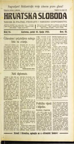 Hrvatska sloboda: 1923 • 25