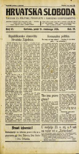 Hrvatska sloboda: 1924. • 47