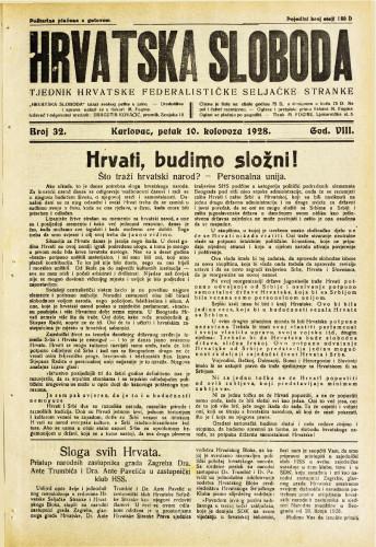 Hrvatska sloboda: 1928. • 32