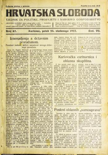 Hrvatska sloboda: 1927. • 47