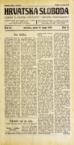 Hrvatska sloboda: 1925. • 25