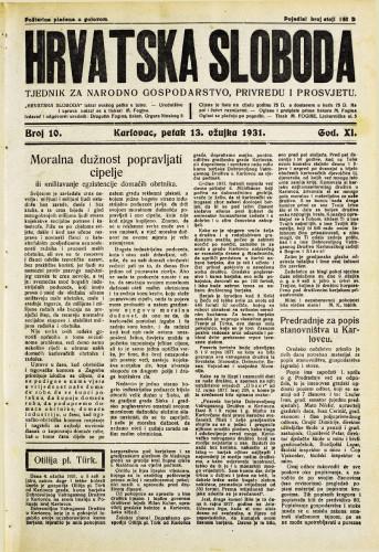 Hrvatska sloboda: 1931. • 10