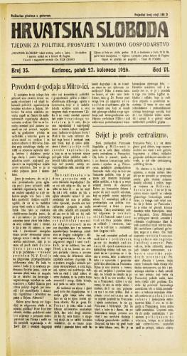 Hrvatska sloboda: 1926. • 35