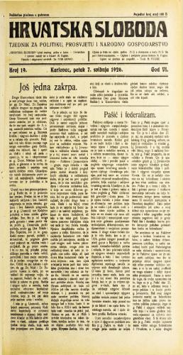 Hrvatska sloboda: 1926. • 19