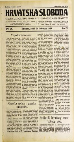 Hrvatska sloboda: 1925. • 34