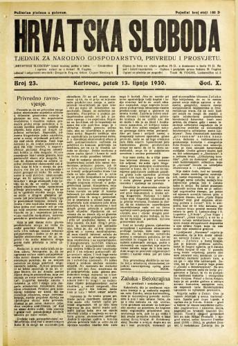 Hrvatska sloboda: 1930. • 23