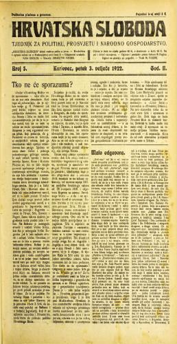 Hrvatska sloboda: 1922 • 5