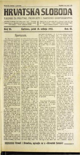 Hrvatska sloboda: 1923 • 20