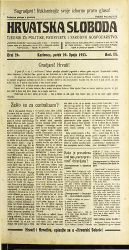 Hrvatska sloboda: 1923 • 26
