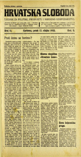 Hrvatska sloboda: 1922 • 11