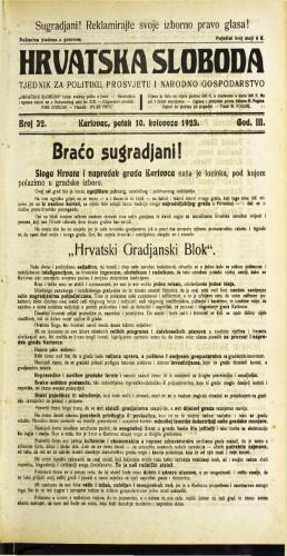 Hrvatska sloboda: 1923 • 32