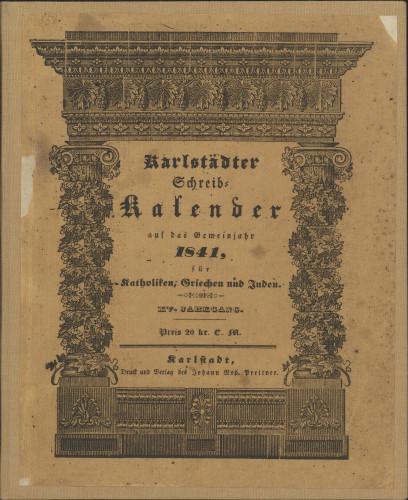 Karlstädter Schreib - Kalender – 1841.