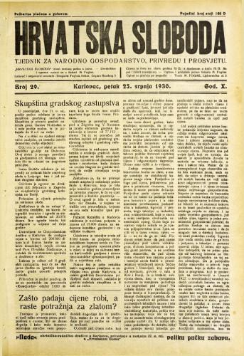 Hrvatska sloboda: 1930. • 29
