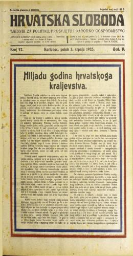Hrvatska sloboda: 1925. • 27