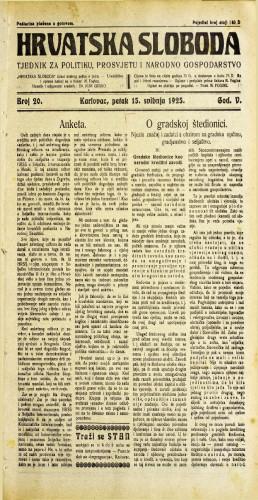 Hrvatska sloboda: 1925. • 20