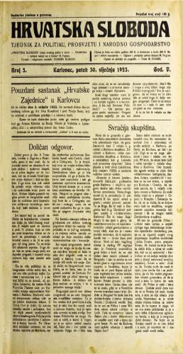 Hrvatska sloboda: 1925. • 5