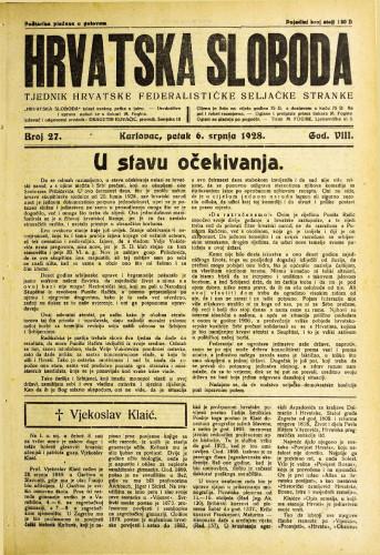 Hrvatska sloboda: 1928. • 27